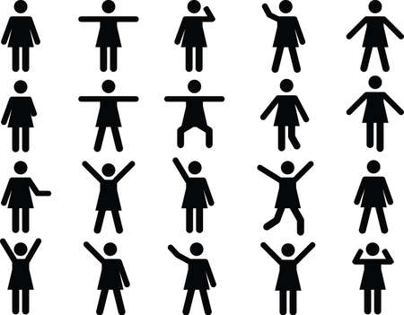 joining forces: Set of active woman pictograms illustrated on white background Illustration