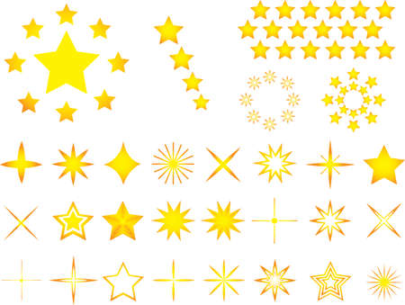 Set of yellow stars illustrated on white background Vector