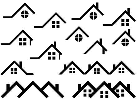 roofing: House roof set illustrated on white
