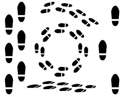 Foot prints illustrated on white Vector
