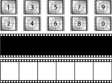 bandes de film et compte à rebours illustrés sur blanc