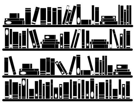 Libros en los estantes ilustrados en blanco
