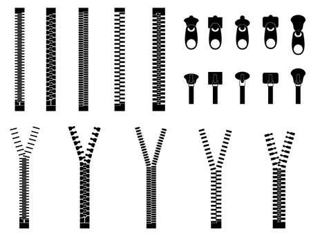 Zippers set illustrated on white Ilustrace
