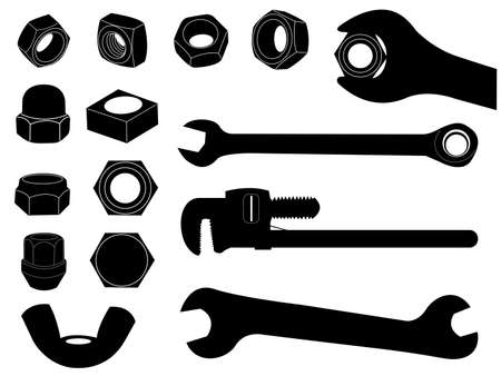 compression  ring: Screw nut and wrench set illustrated on white