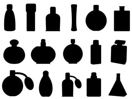eau de toilette: Perfume bottles illustrated on white