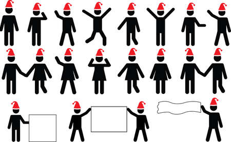 People pictograms with Christmas hats set illustrated on white
