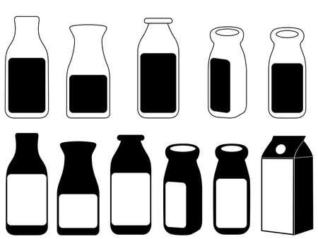 sour grass: Milk bottles illustrated on white Illustration
