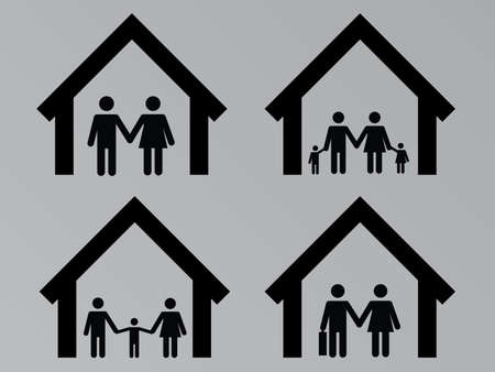 realstate: Family with houses set illustration Illustration