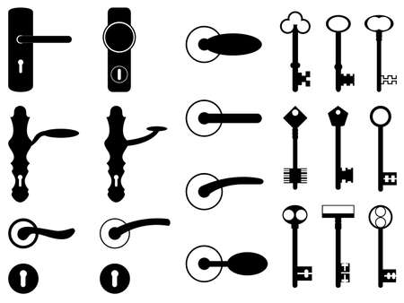 Door knobs and old keys set illustrated on white