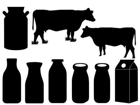 dairy product: Cow silhouette and milk bottles illustrated on white
