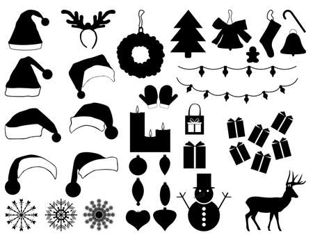Christmas hats and decorations set illustrated on white Vector