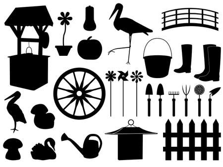 patio set: Garden decorations and tools set illustrated on white Illustration