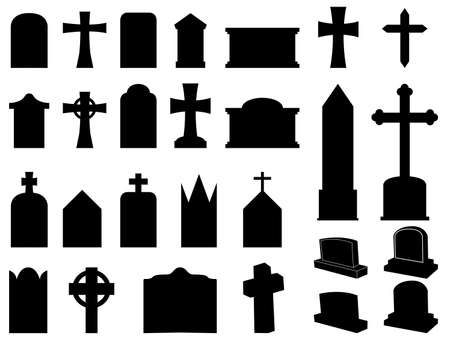 Gravestones and crosses silhouettes illustration collection  Vector
