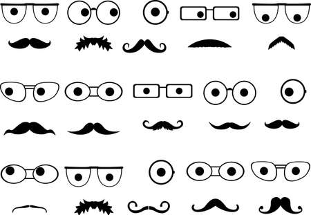 Invisible faces with glasses and mustaches set illustrated on white Vector
