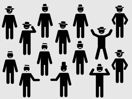 People pictograms with hats and mustache illustration set Vector