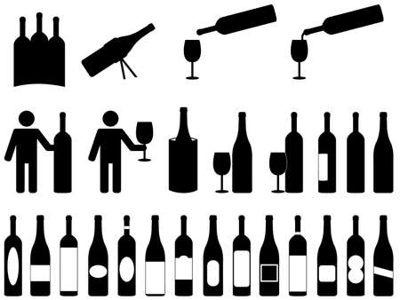People with wine bottles illustrated on white Stock Illustratie