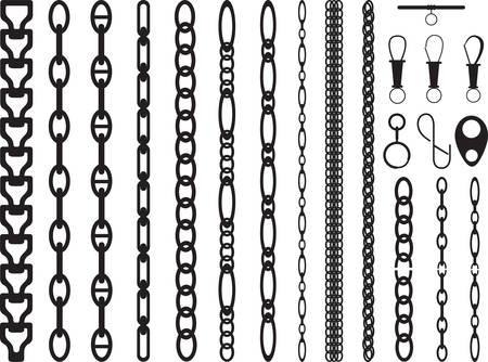 cadena rota: Cadenas conjunto ilustrado en blanco