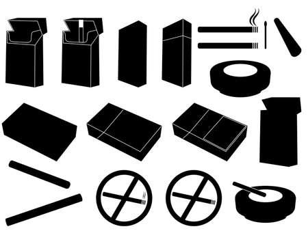 ashtray: Packs of cigarettes and cigarettes set illustrated on white Illustration