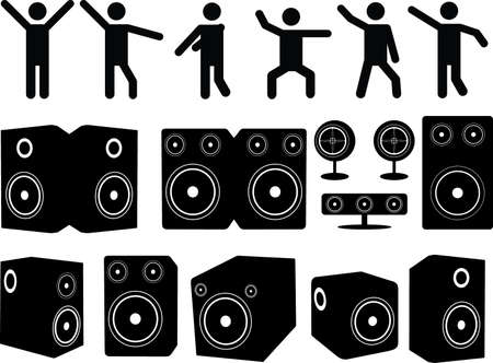 Speakers and people dancing set illustrated on white Vector