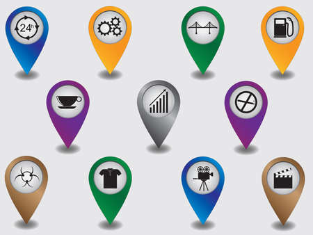 Set of map pointers marking places and objects Vector