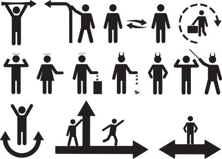 Set of active good and bad human pictograms  Vector