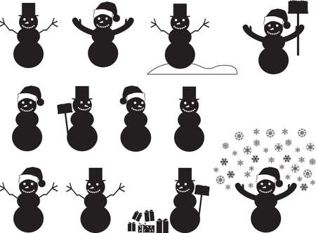 Snowman silhouettes set illustrated on white Vector