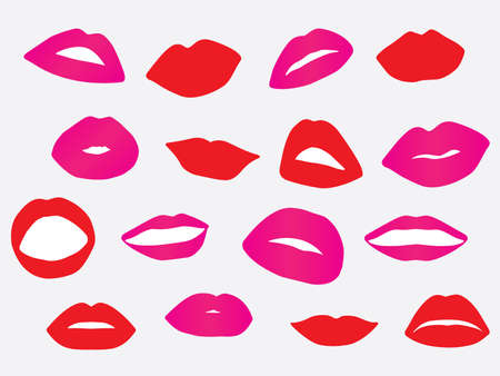 Set of red and pink lips illustration Vector