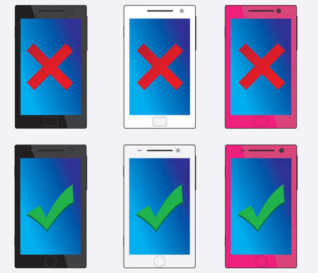 Good and bad smartphones with different colours  illustrated on white Vector