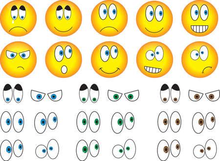 Smiley eyes set illustrated on white