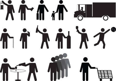 Set of human pictograms activities illustrated on white Vector