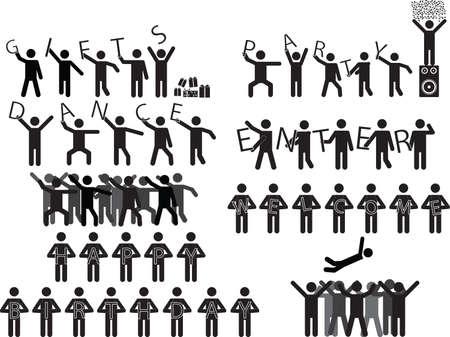 white party: Groepen van mensen die partij berichten afgebeeld op wit