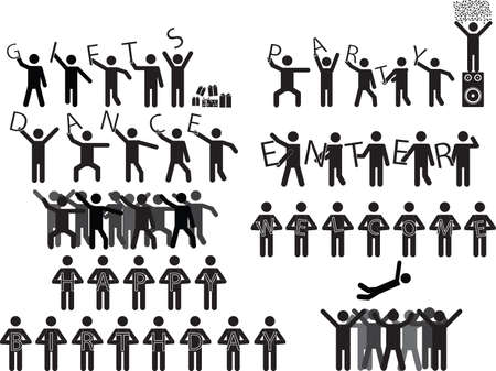 Groups of people holding party messages illustrated on white Vector