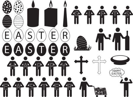 People pictogram for Easter illustrated on white Vector
