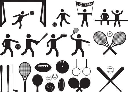 Sport pictogram people and objects illustrated on white Vector