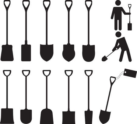 unearth: People with shovels illustrated on white