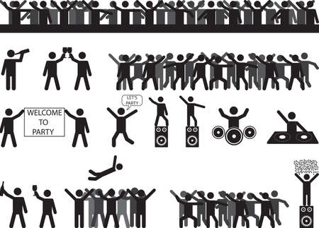 Party people silhouettes illustrated on white Vector