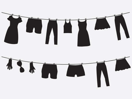 clothes hanging: Clothes hanging on the strings illustrated on white Illustration