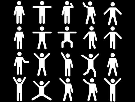 Set of active white human pictograms illustrated on white background Vector