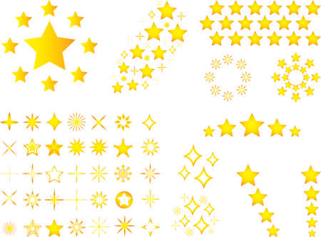 communistic: Set of yellow stars illustrated on white background