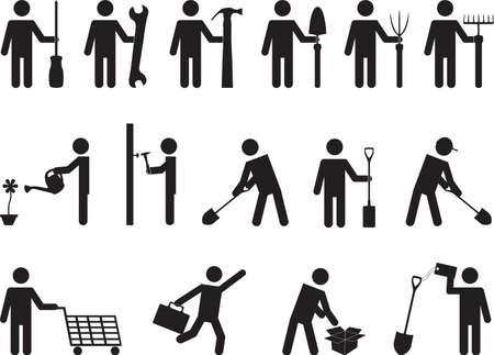 necessity: People pictogram activities in business, construction and garden