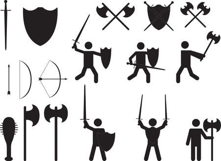 medieval weapons: People warriors and medieval weapons illustrated on white