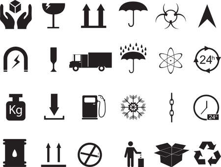 Set of cargo icons illustrated on white Vector