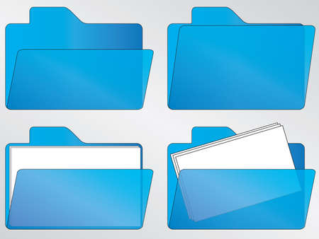 Blauwe lege en volle map iconen