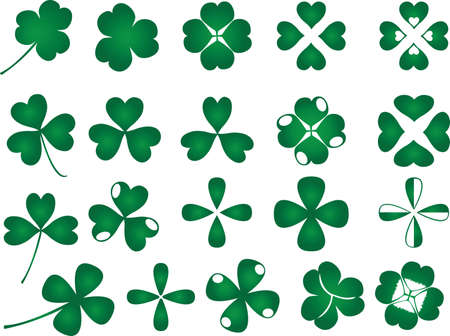 Clover leafs set illustrated on white Vector