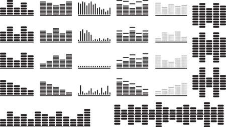 Set of black music equalizer illustrated on white Vector