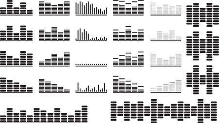 Set of black music equalizer illustrated on white Ilustrace
