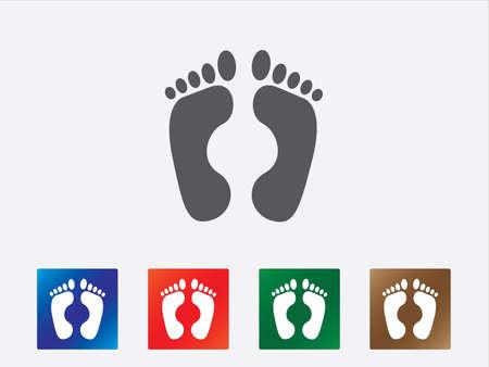 foot print: Pied ic�nes d'impression illustration de diff�rentes couleurs Illustration