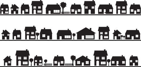 Neighborhood with homes illustrated on white Stock Illustratie