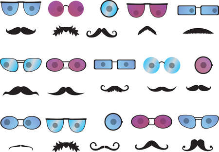 Invisible faces with mustache and colored glasses Vector