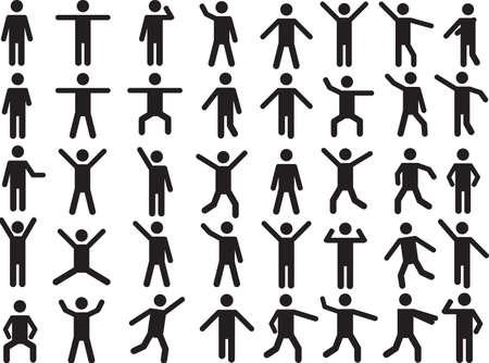 Set aktiv auf weißem Hintergrund dargestellt menschlichen Piktogramm